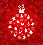 Abstrakt boll som göras i julbeståndsdelar, snöflingatextur Arkivbilder