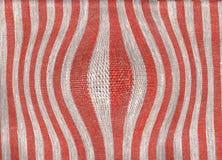 Abstrakt bomullstextur för röda och gråa band Royaltyfria Foton
