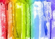 Abstrakt borste för vattenfärgregnbågemålarfärg och droppandebakgrund Arkivfoton