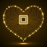 Abstrakt bräde för elektronisk strömkrets för neon i form av hjärta Arkivbild