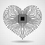 Abstrakt bräde för elektronisk strömkrets i form av hjärta Arkivbild