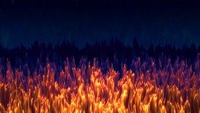 Abstrakt brännhet gräsbakgrund, guld- ullbeklädnad, fantastiskt mörkt fält med guld- gräs under den stjärnklara himlen Vektor Illustrationer