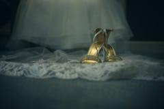 Abstrakt bröllopsklänning och skor Arkivbild