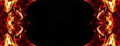 Abstrakt brandram på svart Royaltyfri Foto