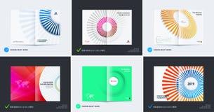 Abstrakt broschyrdesign, modern katalog, mittuppslagräkning, reklamblad i A4 med färgglade strålar, stock illustrationer