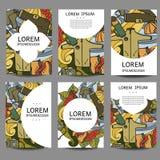 Abstrakt broschyrrekreation för vektor Turism och campa i klotterstil Designmalltappning inramar bakgrunder Royaltyfria Foton