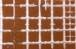 Abstrakt brown ceramiczna tekstura z pobrudzonym białego kwadrata bac Fotografia Stock