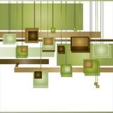 abstrakt bruna gröna fyrkanter Fotografering för Bildbyråer