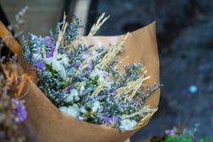Abstrakt bukett av torkade blommor, suddighetsfokus Arkivfoto