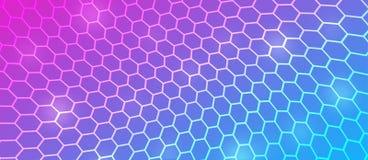 Abstrakt buktigt sexhörnigt ingrepp i rosa, blå och purpurfärgad bakgrund royaltyfri illustrationer