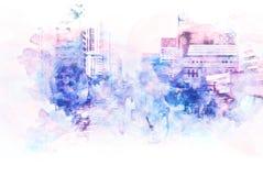Abstrakt byggnad i staden på vattenfärgmålningbakgrund vektor illustrationer