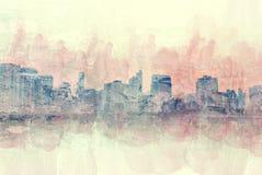 Abstrakt byggnad i staden på vattenfärgmålningbakgrund royaltyfria bilder