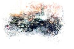 Abstrakt byggnad i staden på vattenfärgmålningbakgrund royaltyfri illustrationer