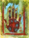 abstrakt chakrahand stock illustrationer