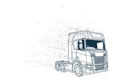 Abstrakt Ciężarowy Niski Poli- Wireframe royalty ilustracja