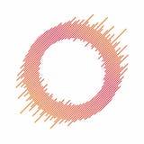 Abstrakt cirkel med dynamiska linjer Abstrakt bakgrund med cirkeln i färgrik blandning Dynamiskt baner, ram stock illustrationer