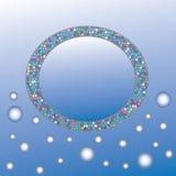 Abstrakt cirkel med utrymme för text på blå bakgrund Fotografering för Bildbyråer