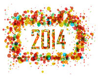 Abstrakt cirkelbakgrund för lyckligt nytt år 2014 Arkivbild