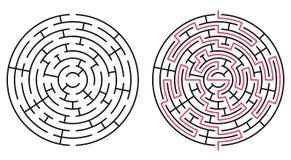 Abstrakt cirkellabyrint/labyrint med tillträdeet och utgången vektor illustrationer