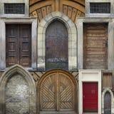 Abstrakt collage av gamla dörrar Arkivbild