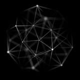 Abstrakt cybernetic partikelbakgrund Bakgrund för Plexusfantasiteknologi illustration 3d dator frambragd head mantråd Royaltyfri Bild