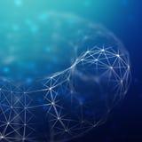 Abstrakt cybernetic partikelbakgrund Bakgrund för Plexusfantasiteknologi illustration 3d dator frambragd head mantråd Royaltyfri Fotografi