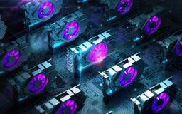 Abstrakt cyberutrymme med åtskilliga gpuvideocards brukar Blockchain Cryptocurrency som bryter begrepp 3d framför Arkivfoton