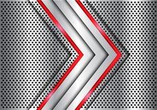 Abstrakt czerwonej linii światła srebna strzała na metalu okręgu siatki projekta tła nowożytnym luksusowym futurystycznym wektorz Obrazy Royalty Free