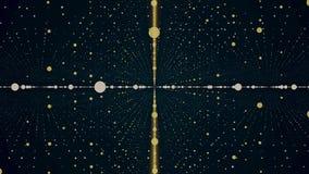 Abstrakt 3d animerade bakgrund av många guld- och vita små circelsinflyttningrader och att rotera på blått mörker - vektor illustrationer