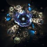 Abstrakt 3d blommar på svart bakgrund Arkivfoton