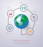 Abstrakt 3D cyfrowy ilustracyjny Infographic z światową mapą może Zdjęcia Stock