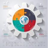 Abstrakt 3D cyfrowy ilustracyjny Infographic z światową mapą może Obraz Royalty Free
