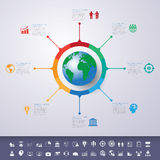 Abstrakt 3D cyfrowy ilustracyjny Infographic z światową mapą może Obrazy Stock