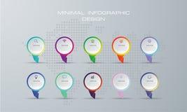 Abstrakt 3D digital illustration Infographic med alternativ 10 vektor illustrationer