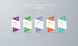 Abstrakt 3D digital illustration Infographic med alternativ 5 vektor illustrationer