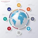 Abstrakt 3D digital illustration Infographic med världskartan Fotografering för Bildbyråer