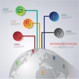 Abstrakt 3D digital illustration Infographic med världskartan kunna Arkivbilder
