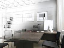 Abstrakt 3d framförde inomhus utrymme Royaltyfria Bilder