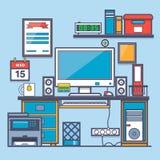Abstrakt 3d framförde inomhus utrymme Kontorsskrivbord och tillbehör Tunn linje lägenhetdesign av modern märkes- workspace Royaltyfri Fotografi