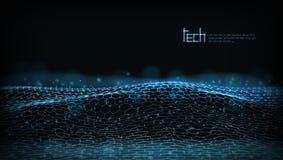 Abstrakt 3D futuristiska Dots And Lines Techno Structure stock illustrationer