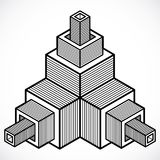 Abstrakt 3d geometrisk form för vektor, polygonal diagram Royaltyfri Fotografi