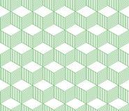 Abstrakt 3d gjorde randig den geometriska sömlösa modellen för kuber i gräsplan och vit, vektor Royaltyfri Foto