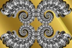 Abstrakt 3D-image z pojemnością na złocistym tle fractal kompleks deseniował elementy royalty ilustracja