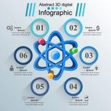 Abstrakt 3D Infographic Atom siencesymbol Arkivfoto