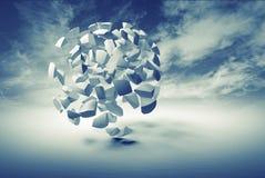 Abstrakt 3d objekt, moln av små sfäriska fragment Royaltyfria Bilder