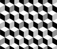 Abstrakt 3d paskował sześcianu geometrycznego bezszwowego wzór w czarny i biały, wektor Fotografia Stock
