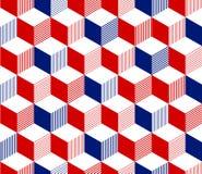 Abstrakt 3d paskował sześcianu geometrycznego bezszwowego wzór w czerwony błękitnym i bielu, wektor Obraz Stock