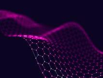 Abstrakt 3d som framför futuristiska prickar och linjer geometrisk digital anslutningsstruktur för dator Plexus med partiklar Arkivfoto