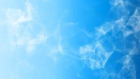 Abstrakt 3d som framför futuristiska prickar och linjer geometrisk digital anslutningsstruktur för dator Plexus med partiklar Royaltyfria Bilder