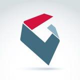 Abstrakt 3D symbol, abstrakt symbol, beståndsdel för grafisk design för vektor Arkivbilder